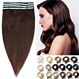 Haarteile Echthaar Tape in Extensions Echthaar Klebe Haarverlängerung Glatt Hochwertig 7A Remy Hair Keine Clips 04# Mittelbraun 20Pcs 50g-60cm