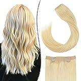 Echthaar Extensions Tressen mit Draht Secret Wire Halo Haarverlangerung Gebleichtes Blond #613 Fish Line Human Hair Weave Easy Fit 80G 18 Zoll