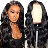 Echthaar perücke schwarz langhaar locken Lace front wig perücke lang body wave human hair curly wigs for women perrücke frauen 24inch(60cm)
