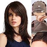HAIRCUBE Mono-Filament Top Perücke Spitze vorne Handgebundene Perücken Kostenlose Trennperücke Mode Schulterlange Perücken für weiße Frauen Pralinen Braune Perücke Natürliches Aussehen