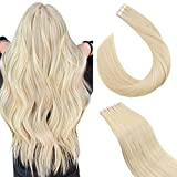 Ugeat 60cm Remy Echthaar Tape Extensions Secret Hair Extension Band #60 Platinblond Tape Extensions Klebeband 2.5GR/PC 50Gramm/Pack Haarverlangerung Tape in Skin Weft Hair Extensions