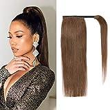 Haarteile Echthaar Pferdeschwanz Echte Haare Zopf #2 Dunkelbraun Brasilianisches Haar 40cm 70g Wrap Around Extension Zopf Haare Mit Clip