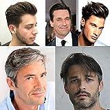 AIRAO Alle Lace Toupee Toupet Haarteil Ersatz Männer Perücken Gebleichte Knoten Unsichtbare Natürliche Aussehende - Indische Menschliche Haar #1B70(Aus Schwarz Mit 70% Weißes Haar)