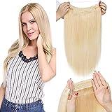 TESS Haarteile Echthaar Extensions 1 Tresse Doppelt Dicke Draht komplette Haarverlängerung guenstig Haar Extensions Glatt 18'(45cm)-100g #613 Blond