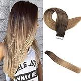 Easyouth Balayage Tape Hair 18 zoll 40g 20Stück pro Paket Farbe #2T6T27 2 Verblassen bis 6 Verblassen bis 27 Echthaar Extensions Ombre Tape in Glue in Extensions