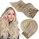 Easyouth Double Weft Clip auf Haar für Frauen Remy Clip Extension Farbe Aschblond Mix Mittelblond und Platinblond 16 Zoll 7Pcs 80g Remy Human Clip auf Haar
