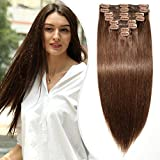 Clip in Extensions Echthaar Remy Haarverl?ngerung für komplette Haarverdichtung 8 Pcs 18 Clips Doppelt Dicke Haar 45 cm (140 g) #4 Schokobraun