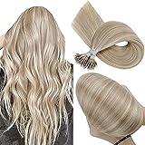 Hetto Echthaar Extensions Nanoring Haarverlängerungen Blond 1g/s Extensions Nanoring Haar Echthaar Blond Remy Nano Rings Extensions #18/613 Dunkle Aschblondine Strähnchen 18 Zoll 50g