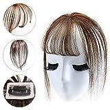Yanamy Echthaar-Pony-Clip, 3D-Air-Bangs, Pony-Haarteil mit Clip, Topper für den Oberkopf, für Damen