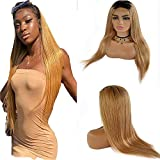 Brasilianer Straight Lace Closure Wig Ombre Echthaar Perückes For Women #1b/27 Tow Tone Closure Brasilianer Hair With Natural Hairline 130% Density Grade 9a Cheap 18 Zoll