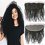 Frontal Lace Closure Deep Wave 13x4 Pre Plucked Free Part with Baby Hair Brazilian Curly Hair Remy Virgin Hair Natural (16 Frontal)